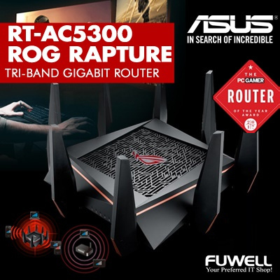 cec4a7451e ASUS ROG Rapture GT-AC5300 Tri-Band Gaming Router w 8 x Gigabit LAN