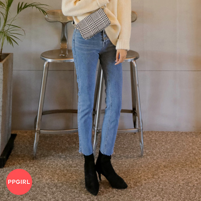 b9b76ab0af24c PPGIRL D047 Pop swing denim pants   slim straight fit pants   jeans   denim  slacks