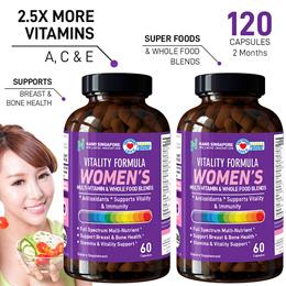 [60*2 caps 2 Mths] SG - No.1 Women Multi Vitamins (MultiVits) 2.5X MORE Vitamin A C E ☆ Antioxidant