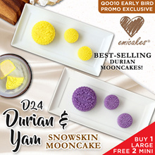 Emicakes' Signature Snow Skin Durian and Yam Mooncake | 1 Large 2 Mini Bundle | BUY NOW!