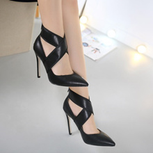 Stylish Crossing Pointer Shoe 11CM High Heel (Size 35-40)