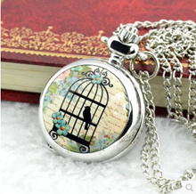 Singapore◆ grant price trumpet flowers birdcage ceramic enamel pocket watch necklace pocket watch ha
