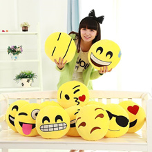 12 Styles Diameter 30cm Cushion Cute Lovely Emoji Smiley Pillows Cartoon Cushion Pillows Yellow Roun
