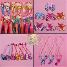 [TWL] My Little Pony Hair Clip Colourful Hair Extension Clip On Children Hair Ties Necklaces