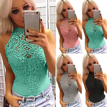 Woman Sexy Lace Stitching Jumpsuit Summer Hollow Out Sleeveless Fitness Jumpsuit Bodycon Ladies Sexy