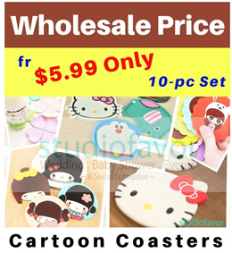 SALE! [Click 10pcs for $4.99] Wholesale Cartoon/ Jap Doll/ Clover/ Floral/ Girl Silicone Coasters