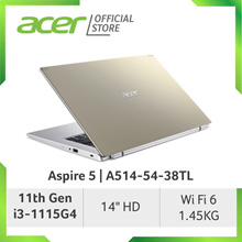 Acer Aspire 5 A514-54-38TL(Gold) - 14inch HD Laptop with Latest 11th i3-1115G4 Gen Processor