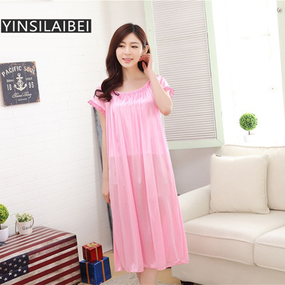 ... Sleepwear Night Gown Sleeping Dress Plus Size Bathrobe Chemise Source ·  Qoo10 YINSILAIBEI Lady Summer Ice Silk Satin Nightgowns Plus Size bff8d4e60f31