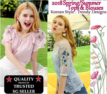 2018 Spring/Summer Korean Fashion Floral Chiffon Lace Work Office / Casual Tops Blouses