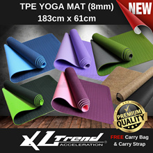 ★ XL Trend ★ Premium Quality ★ TPE Yoga Mat ★ 8mm ★ Free Carry Bag + Carry Strap ★ Local Seller ★