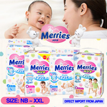 $59.90 Carton PROMO with Free Shipping【Japan Domestic Version💎Merries Diaper Unisex NB~XXL】