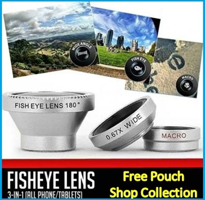 [BESTSELLER]♥Mobile Phone Lens♥ Universal 3 in 1 Magic Lens Clip Detachable Super Wide Macro Fish Eyes Len for iphone5s S5 Note3 Cat 0.4X