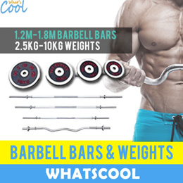 $28.90 Barbell Bar Weights EZ Curl Tricep Gym Fitness Plate Dumbbell Chrome Sets Plate Cast Iron