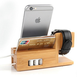 Wooden Bamboo Stand Phone Holder Dock Station For Apple Watch iPhone 6S 5 5C 5S 6 SE With Card Slot and USB Port