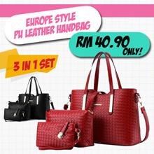 Europe Style PU Leather Handbag 3 in 1 set
