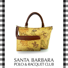 Santa Barbara Polo and Racquet Club Signature Print Canvas Top Handle Bag with Leather Trim