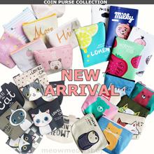 Kawaii Coin Pouch Purses PU/canvas small bags sweet design cute animals print