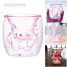 ღ Starbucks Cat Paw Cup ღ Stereoscopic Sakura   Glass Double Layers Cup 300ml