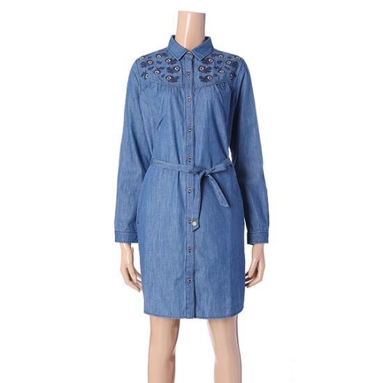 ソスデイアイルランド女性自首装飾のデニムワンピースT176MOP147W 面ワンピース/ 韓国ファッション