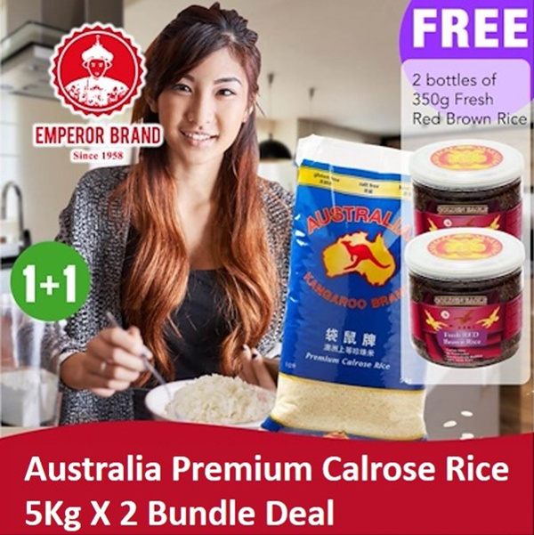Kangaroo Australian Premium Japanese Rice 5kg X 2 Bundle Deal! Free Fresh Red Brown Rice 350g X2!! Deals for only S$31.1 instead of S$0