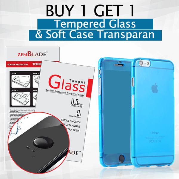 Big SaleBuy 1 get 1 ZenBlade Tempered Glass free Ultra Thin Soft Case Transparan 0.3mm Deals for only Rp38.500 instead of Rp38.500