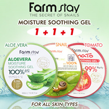 1+1+1 Farm Stay Aloe vera / Snail / Tomato Moisture Soothing Gel - 300ml Made in Korea