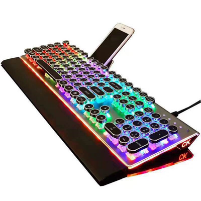 DIY QWERTY STEAMPUNK Retro Mechanical keyboard USB Wired Rainbow Typewriter  Gaming Led Backlit Keybo