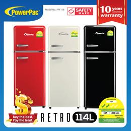 PowerPac Retro Fridge 114L 2-Door Mini Fridge (PPF118)