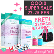 U.P $209.70 [SkinnyMint Official] Besties Value Teatox (28Day x 2) + FREE Gummies + Gym Bag
