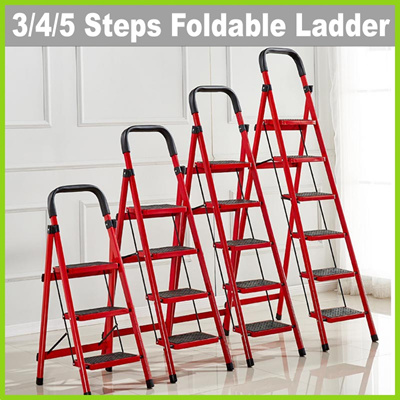 Wondrous Qoo10 Ae1804 3 4 5 Step Red Foldable Ladder With Handle Squirreltailoven Fun Painted Chair Ideas Images Squirreltailovenorg
