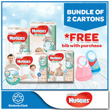 Bundle of 2 Cartons!! [HUGGIES] Platinum Diapers - available in all sizes [*FREE Make My Day Bib]