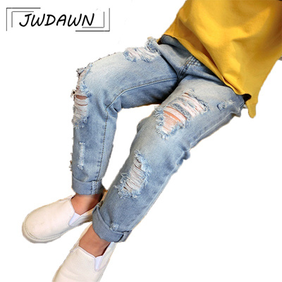 082aa5f32 Boys Ripped Jeans For Girls 2018 Summer Hot Sale Fall Style Trend Denim  Trousers Distrressed Hole