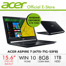 Acer Aspire 7 (A715-71G-53F8) Laptop - 15.6 FHD with NVIDIA® Geforce GTX 1050