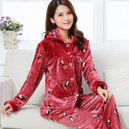 Girls Long Sleeve Pajamas Suit Female Flannel Warm Housewear Students Thickened Coralline Velvet Paj