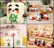 [Chinese New Year] Set of 5 Fortune Cat Figurines/Mahjong Cushions/ Sofa Covers/Fortune Cats Cover