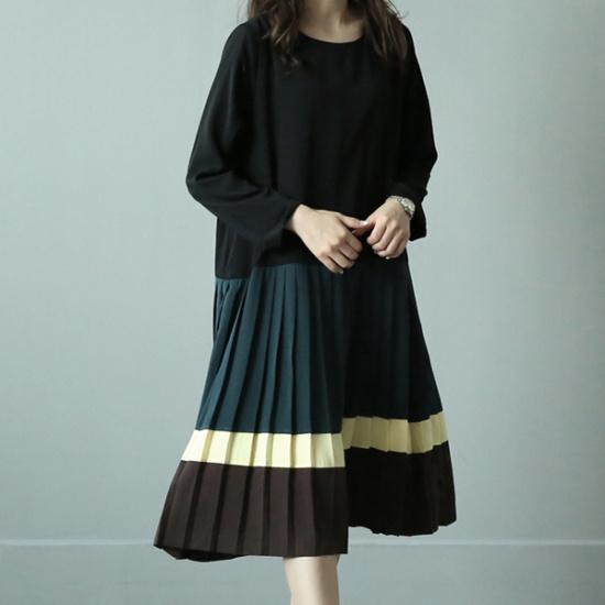 ビナインネルポニ配色ワンピース 綿ワンピース/ 韓国ファッション