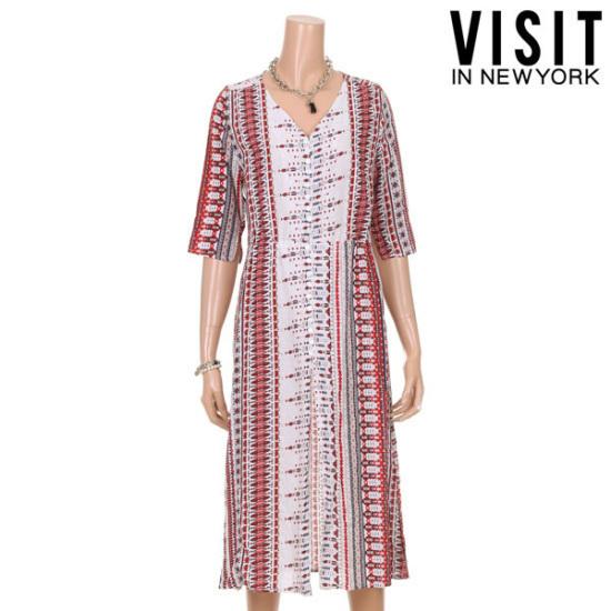 ・ビジット・インニューヨークエスニック・ビーチ捺染ワンピースVTGOP10 面ワンピース/ 韓国ファッション