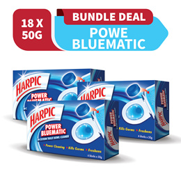 Bundle of 3 x Harpic Power Bluematic 50G 6s Toilet Bathroom Cleaner! 1ST 100 Set - Free 3 x Harpic Active Cleaning Gel 500ML + 1 x Harpic Power Bluematic 50G 6s