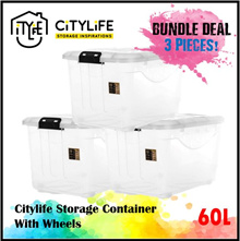 BUNDLE OF 3 - Citylife Storage Container with Wheels - 60L * Best seller  large capacity*