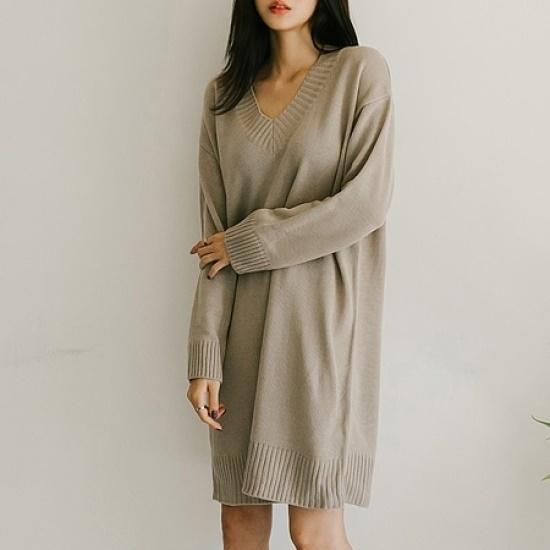 素敵カルニットロングOPS 綿ワンピース/ 韓国ファッション