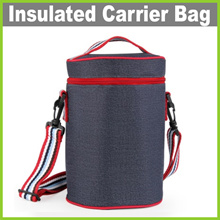 ★ Round Insulated Carrier Bag ★ 3 Sizes! Outdoor Lunch Box Thermal Cooler Bag Keep Food Warm or Cold