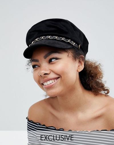 Qoo10 - My Accessories Black Chain Detail Baker Boy Hat   Fashion ... d53e2bd4147