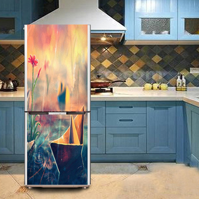 Diy Pvc Paper Boat Fridge Door Cover Wallpaper Refrigerator Refurbished Sticker Contact Paper Mural