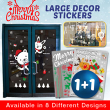 【1+1 Deal】Christmas Large Glass Paste ❆ Window ❆ Door ❆ Wall ❆ Decoration Stickers