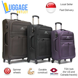 ★Best quality fabric★Softside 4-Wheel Spinner Expandable Trolley Case Luggage with TSA lock