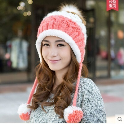 Female Winter Hat MS Lovely Fashion Knitting Cap Thermal Protective Ear Caps  Earmuffs Women Hats d5dcd774527
