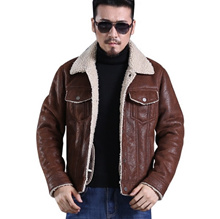 LDEGRE men roll over furs loose coat winter trend suede fabric all-match new pattern