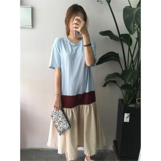 はいトト行き来するようにはいトトユニーク配色ワンピース プリントのワンピース/ 韓国ファッション