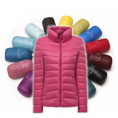 Women Ultra Light Down Jacket Stand collar Winter cotton Jackets Women Slim Long Sleeve Parka Zipper