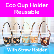 Teachers Day Gift! Coffee Cup Holder / Bubble Tea Cup Holder / Cloth Reusable/ Metal Straws